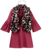 My Michelle mymichelle Bell Sleeve Dress, Animal Print Faux Fur Vest & Necklace Set (Big Girls)