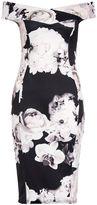 Quiz Black Scuba Floral Midi Dress