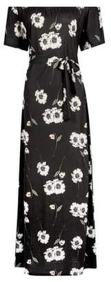 Dorothy Perkins Womens Black Floral Print Maxi Bardot Dress, Black