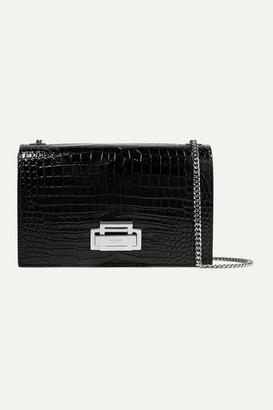 Saint Laurent Croc-effect Patent-leather Shoulder Bag - Black