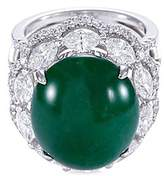 LC Collection Diamond jade 18k gold scallop ring