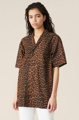 Ganni Printed Cotton Poplin Oversized Shirt