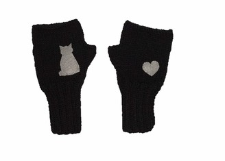 Bas 1 Pair Knitted Gloves - Winter Warm Fingerless - Different models of Half Finger Gloves are available with a cute package (cat - grey on the black)