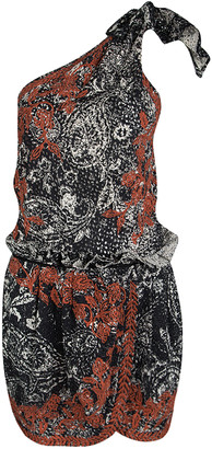 Isabel Marant Black and Red Eyelet Embroidered Knotted One Shoulder Natacha Dress M