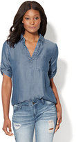 New York & Co. Soho Soft Shirt - One-Pocket Popover - Ultra-Soft Chambray