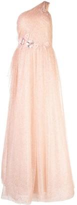 Marchesa one-shoulder flared maxi dress