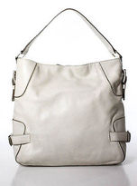 MICHAEL Michael Kors White Leather Silver Buckle Medium Shoulder Handbag