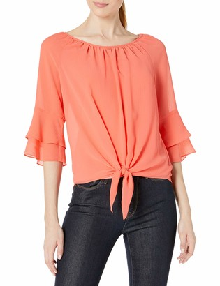 Amy Byer Women's Flounce Sleeve Tie Front Top
