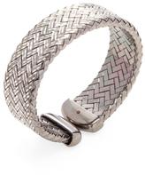 Roberto Coin Engraved Silver Woven Bangle Bracelet