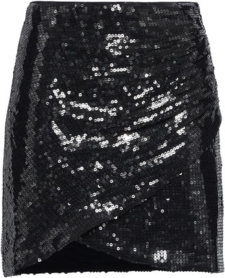 Alice + Olivia Wrap-effect Sequined Crepe Mini Skirt