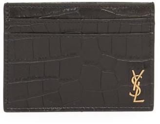 Saint Laurent Croc-Embossed Leather Credit Card Holder