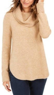 Style&Co. Style & Co Cowl-Neck Waffle-Knit Sweater, Created For Macy's