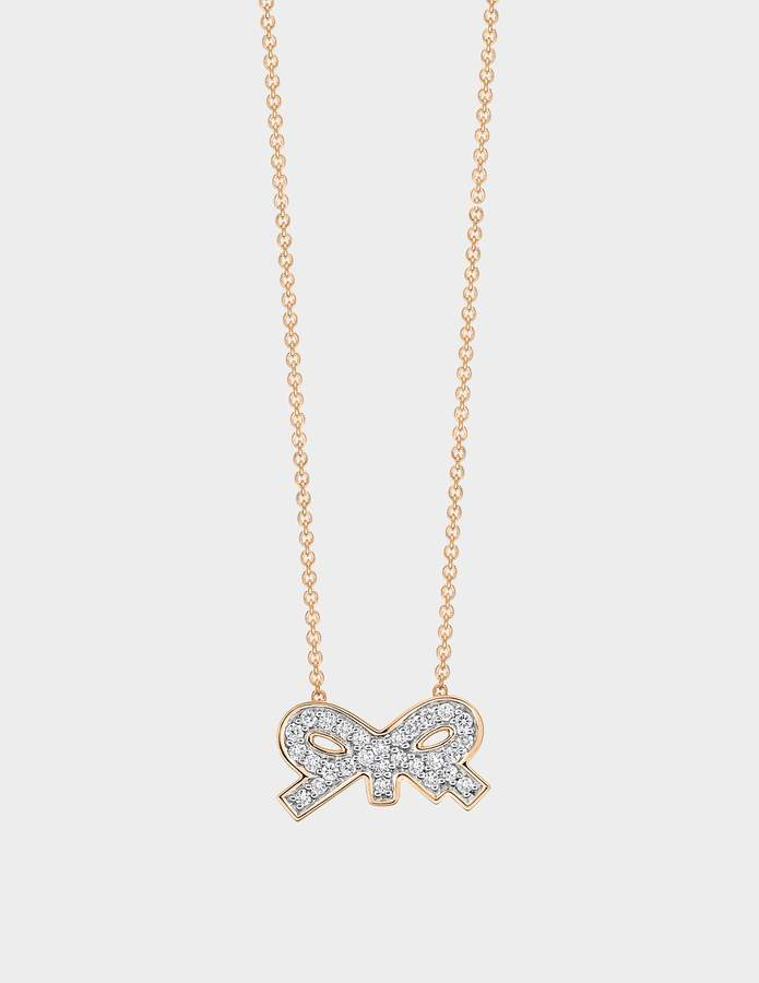 ginette_ny Tiny Diamond Bow Necklace in 18K Rose Gold and Diamonds