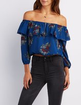 Charlotte Russe Floral Ruffle Off-The-Shoulder Top