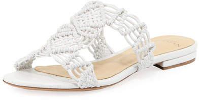 Alexandre Birman Rondah Crocheted Leather Slide Sandal, White
