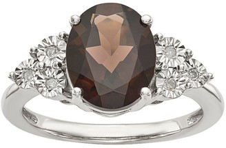Sterling Oval Gemstone & Diamond Accent Ring
