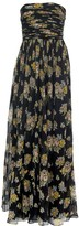 Brock Collection Strapless Ruched Floral Print Maxi Dress