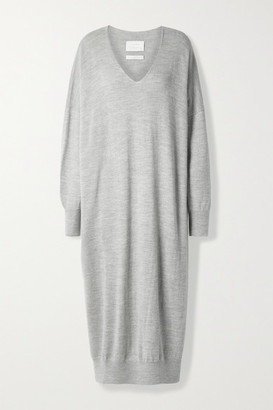 LAUREN MANOOGIAN Alpaca And Merino Wool-blend Midi Dress - Light gray