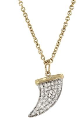 Sydney Evan Diamond Horn Pendant Yellow Gold Necklace