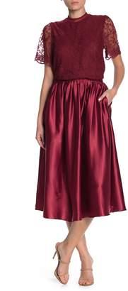 Everleigh Satin Pull-On Pleated A-Line Midi Skirt