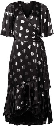 Diane von Furstenberg polka-dot flared dress