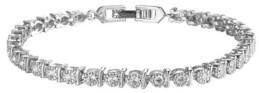 A&M A & M Silver-Tone Round White Topaz Accent Tennis Bracelet