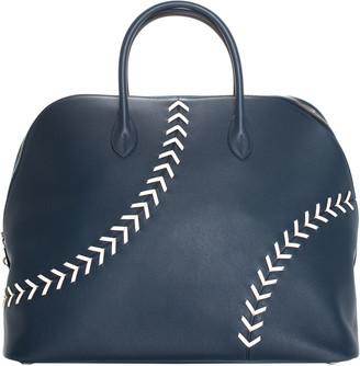 Hermes 1923 Blue Evercolor Leather Baseball Bolide Weekender Bag, Never Carried