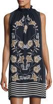 Max Studio Floral-Print Chiffon Mock-Neck Dress, Dark Navy