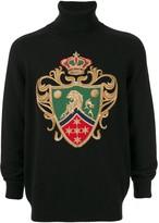 Dolce & Gabbana Cashmere Heraldic Embroidery Turtle Neck Jumper