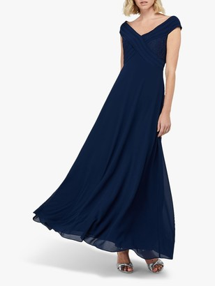 Monsoon Bethany Bardot Pleat Lace Maxi Dress, Navy