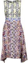 Peter Pilotto Asymmetric Printed Silk-Satin Midi Dress