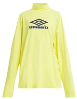 Vetements X Umbro Long-sleeved Cotton-jersey Top - Womens - Yellow