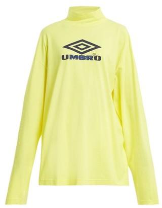 Vetements X Umbro Long-sleeved Cotton-jersey Top - Womens - Yellow