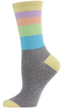 Me Moi MeMoi Pastel Stripe Women's Crew Socks