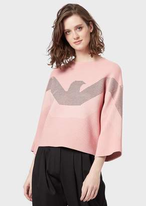 Emporio Armani Ottoman Sweater With Three-Quarter Length Sleeves And Maxi Eagle