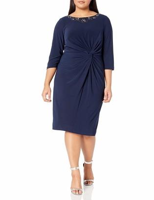 Alex Evenings Women's Plus Size Dress with Knot Front Detail