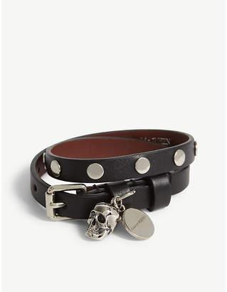 Skull double-wrap leather bracelet