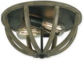 Feiss Flush Mount 2-Light Ceiling Mount in Weather Oak Wood and Antique Forged Iron