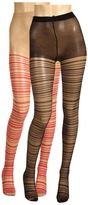 Anna Sui Sheer Stripes Tights 2 Pack (Black/Bright Purple) - Hosiery