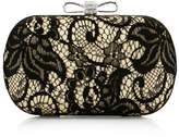 BMC Beige Satin Finished Black Lace Rhinestone Metal Bow Closure Fashion Clutch