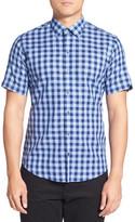 Zachary Prell Trim Fit Gingham Cotton & Linen Sport Shirt