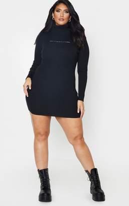 PrettyLittleThing Plus Black Rib Long Sleeve Bodycon Dress