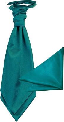 Teal tiny white dots dense bluish green Notch Mens Silk Pocket Square base