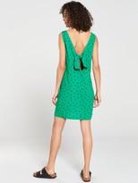 Warehouse Green Spot Button Through Mini Dress - Green Print
