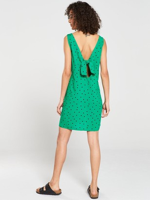 Warehouse Green Spot Button Through Mini Dress - Green Print