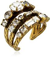 Sorrelli Core Antique Gold Tone Crystal Triple Threat Adjustable Ring
