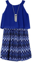 BY AND BY GIRL Byer Navy Lace Chiffon Popover Dress - Girls Reg. 7-16
