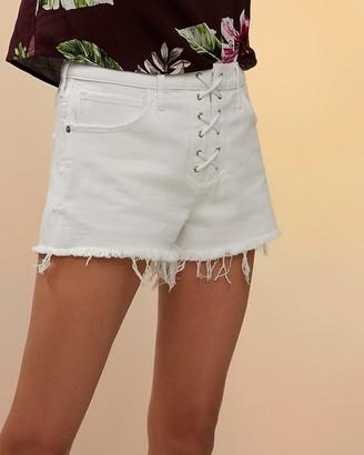 Express Mid Rise Lace-Up Cutoff Jean Shorts
