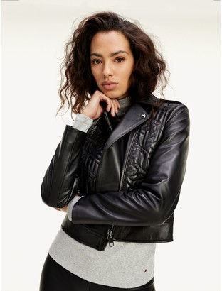 Tommy Hilfiger Cube Monogram Leather Biker Jacket