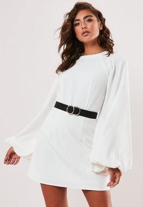 Missguided White Puff Sleeve High Neck Mini Dress
